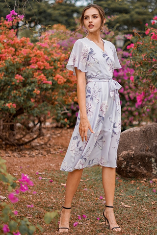 TALLEAH FLORAL KIMONO WRAP MIDI DRESS WITH SASH #MADEBYLOVET (LILAC GREY)