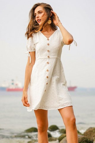 WILLOW EYELET BUTTON RIBBON SLEEVE DRESS #MADEBYLOVET *BACKORDER*