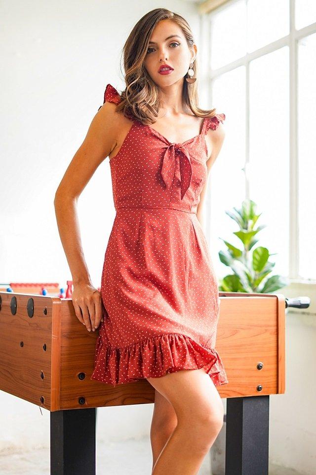 AGNES SPARROW RIBBON DRESS #MADEBYLOVET (RUST)