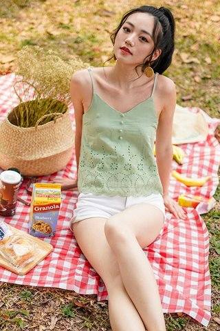 ABBY BUTTON EYELET TOP #MADEBYLOVET (PASTEL GREEN)