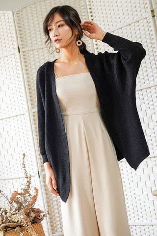 DONNA SLOUCHY KNIT CARDIGAN (BLACK) *BACKORDER*
