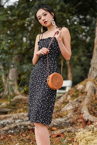 DOROTHY FLORAL TIE-STRING MIDI DRESS #MADEBYLOVET (BLACK)