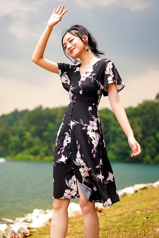 JENNA FLORAL BUTTON MIDI DRESS #MADEBYLOVET (BLACK)