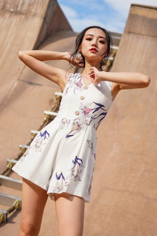 JUDY FLORAL BUTTON V-NECK ROMPER WITH SASH #MADEBYLOVET (WHITE)