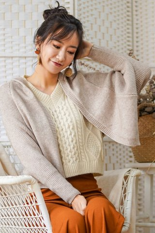 KAIA KNIT HOODIE CARDIGAN (TAUPE) *BACKORDER*