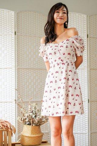 SERENA FLORAL SWEETHEART 2-WAY DRESS #MADEBYLOVET (CREAM)