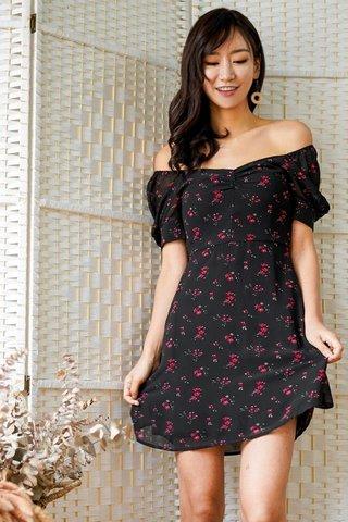 SERENA FLORAL SWEETHEART 2-WAY DRESS #MADEBYLOVET (BLACK)