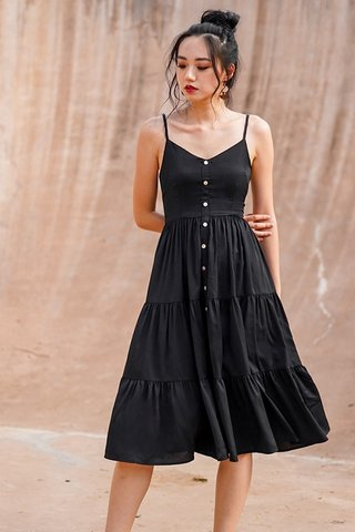 MARILYN TIERED BUTTON MIDI DRESS #MADEBYLOVET (BLACK)