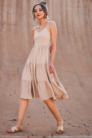 MARILYN TIERED BUTTON MIDI DRESS #MADEBYLOVET (TAUPE SAND)