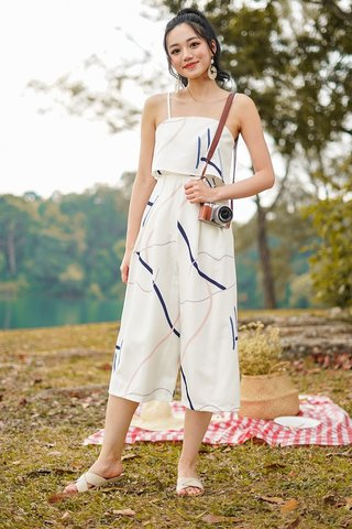 VALENCIA ABSTRACT DOODLE JUMPSUIT #MADEBYLOVET (WHITE) *BACKORDER*