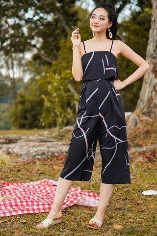 VALENCIA ABSTRACT DOODLE JUMPSUIT #MADEBYLOVET (BLACK) *BACKORDER*