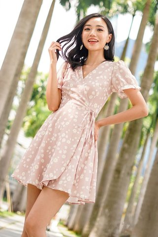 VIOLA DAISY TIE STRING WRAP DRESS #MADEBYLOVET (BLUSH) *BACKORDER*