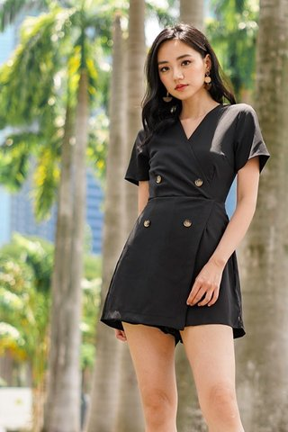 YVETTE BUTTON SKORT ROMPER #MADEBYLOVET (BLACK) *RESTOCKED*