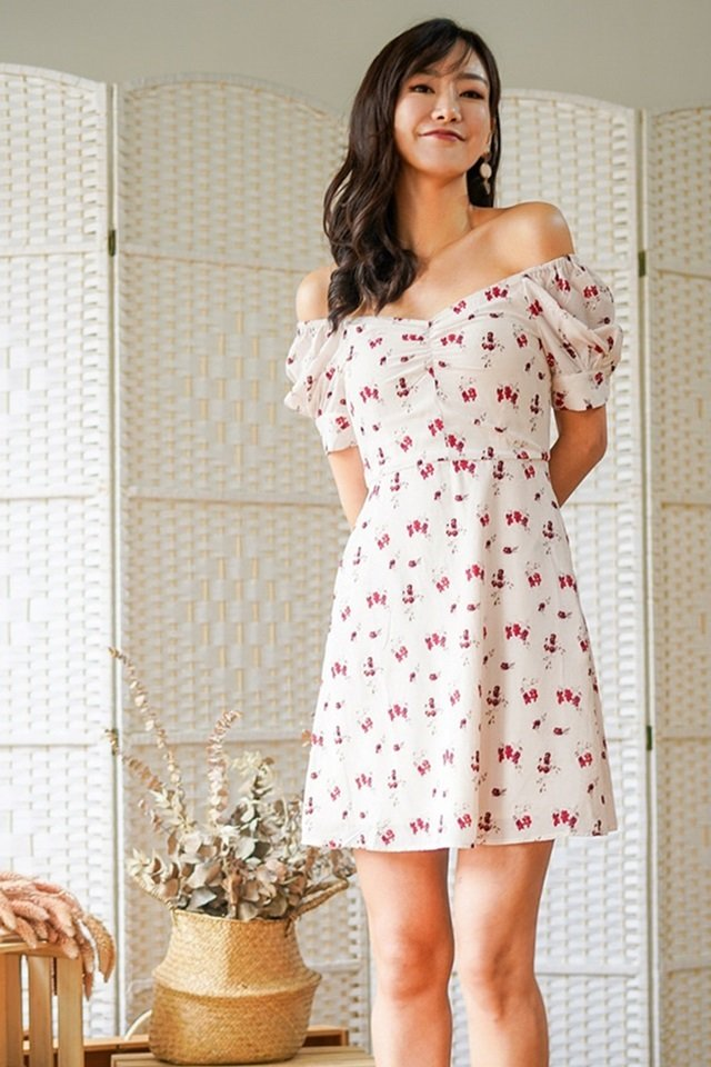 SERENA FLORAL SWEETHEART 2-WAY DRESS #MADEBYLOVET (CREAM)