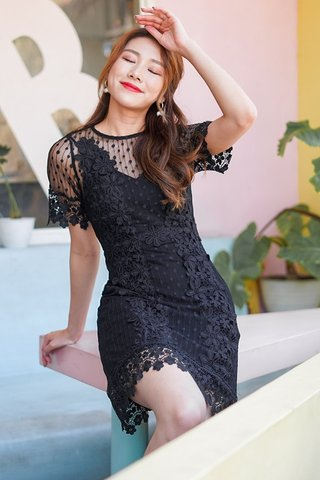 ADENA DOTTED CROCHET PANEL DRESS #MONGXLOVET (BLACK) *BACKORDER*