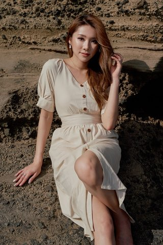 ARCADIA MIDI BUTTON DRESS WITH SASH #MONGXLOVET (SAND)