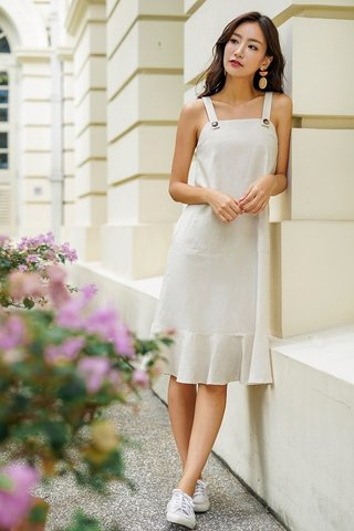 ALTHEA LINEN BUTTON DROPWAIST MIDI DRESS #MADEBYLOVET (SAND)