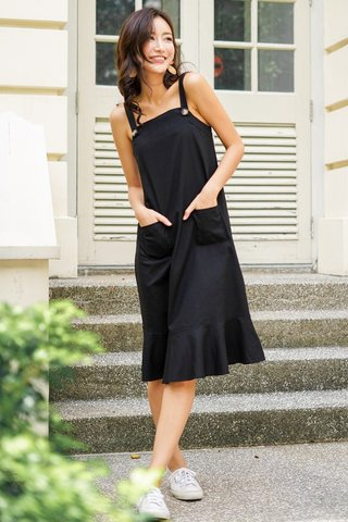 ALTHEA LINEN BUTTON DROPWAIST MIDI DRESS #MADEBYLOVET (BLACK)