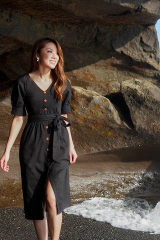 ARCADIA MIDI BUTTON DRESS WITH SASH #MONGXLOVET (BLACK)