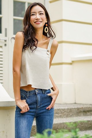 BELLAVINE LINEN BUTTON CROP TOP #MADEBYLOVET (SAND)