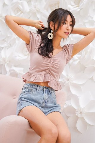 BETHANY LINEN RUCHED RUFFLES TOP #MADEBYLOVET (DUSTY PINK) *BACKORDER*