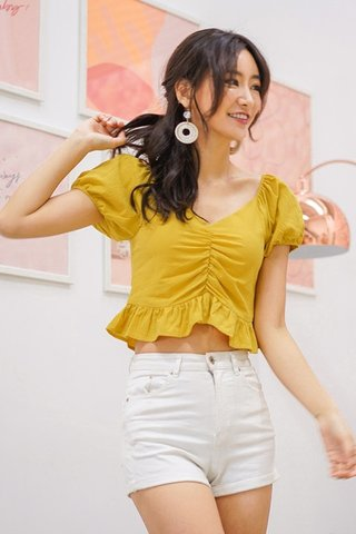 BETHANY LINEN RUCHED RUFFLES TOP #MADEBYLOVET (MARIGOLD)