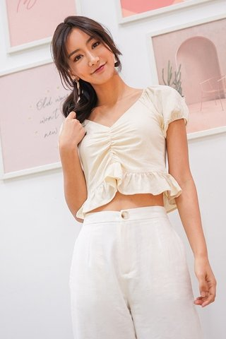 BETHANY LINEN RUCHED RUFFLES TOP #MADEBYLOVET (CREAM) *RESTOCKED*
