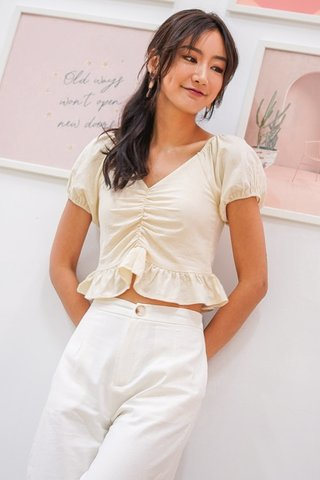BETHANY LINEN RUCHED RUFFLES TOP #MADEBYLOVET (CREAM)