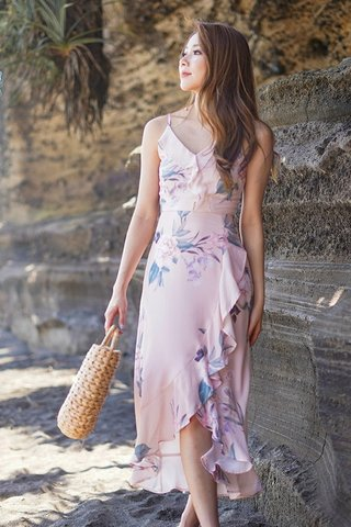CADIE FLORAL RUFFLES ASYMMETRICAL DRESS #MONGXLOVET (BLUSH PINK) *RESTOCKED*