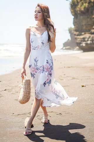 CADIE FLORAL RUFFLES ASYMMETRICAL DRESS #MONGXLOVET (WHITE)