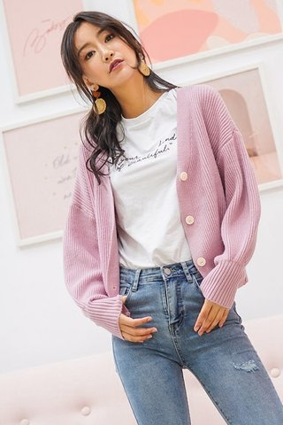 CAROL KNITTED BUTTON CARDIGAN (BUBBLEGUM PINK) *BACKORDER*