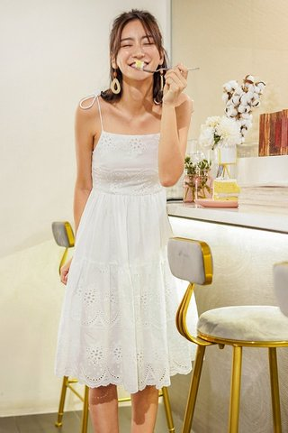 ZAYNIA EYELET TIE-STRING DROPWAIST MIDI DRESS #MADEBYLOVET (WHITE)