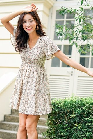 FELLY FLORAL BUTTON BABYDOLL DRESS #MADEBYLOVET (OFF-WHITE)