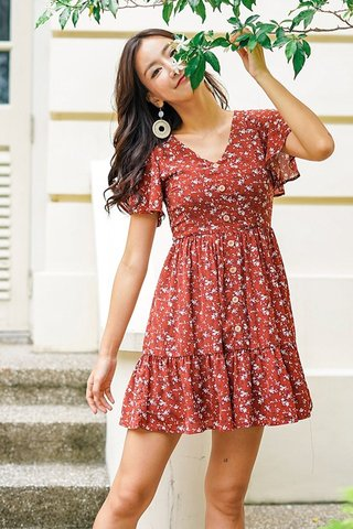 FELLY FLORAL BUTTON BABYDOLL DRESS #MADEBYLOVET (BRICK RED)