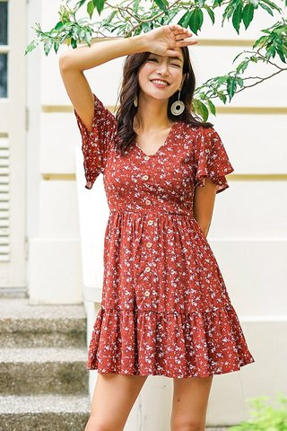FELLY FLORAL BUTTON BABYDOLL DRESS #MADEBYLOVET (BRICK RED) *RESTOCKED*