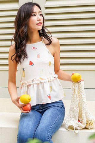 MELANIE FRUITS HALTER NECK TOP #MADEBYLOVET (CREAM)