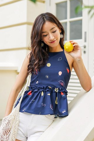 MELANIE FRUITS HALTER NECK TOP #MADEBYLOVET (NAVY)