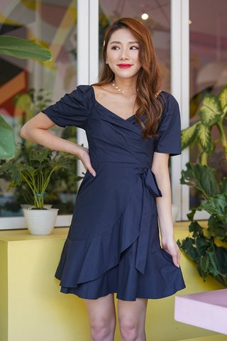 HARLOW 2-WAY SWEETHEART WRAP DRESS #MONGXLOVET (NAVY) *BACKORDER*