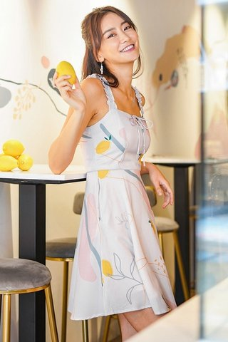ELODIE ABSTRACT LEMON RIBBON DRESS #MADEBYLOVET (LIGHT BLUSH)
