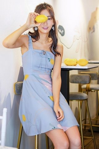 ELODIE ABSTRACT LEMON RIBBON DRESS #MADEBYLOVET (DUSTY BLUE)
