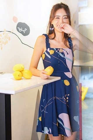 ELODIE ABSTRACT LEMON RIBBON DRESS #MADEBYLOVET (NAVY)