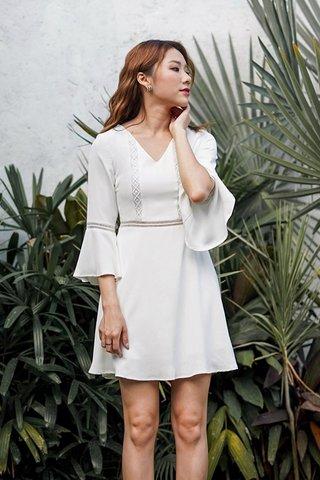 LISELLA EYELET BELL SLEEVE DRESS #MONGXLOVET (WHITE) *BACKORDER*