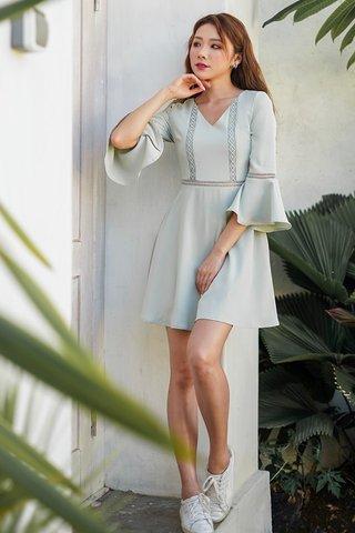 LISELLA EYELET BELL SLEEVE DRESS #MONGXLOVET (MINT) *BACKORDER*