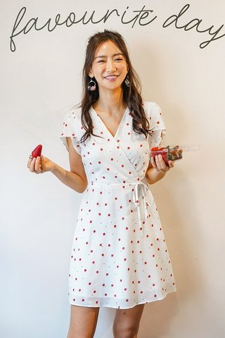 MAISIE STRAWBERRY WRAP DRESS #MADEBYLOVET (WHITE) *BACKORDER*
