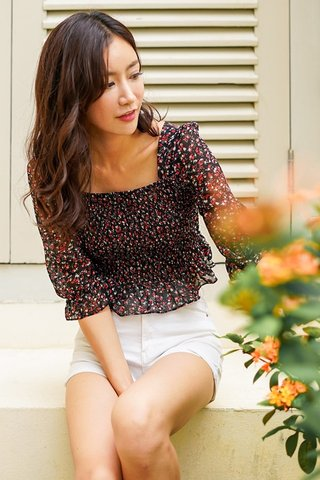 OLIVIA FLORAL SCRUNCH SLEEVE TOP #MADEBYLOVET (BLACK)