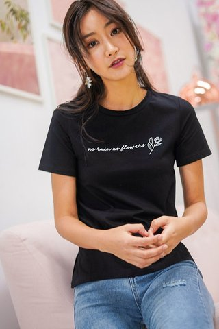 NO RAIN NO FLOWERS T-SHIRT #MADEBYLOVET (BLACK)