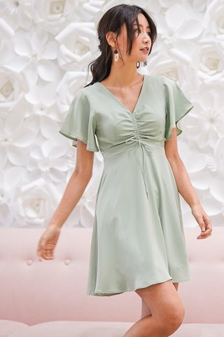 MARABEL ADJUSTABLE SCRUNCHED DRESS #MADEBYLOVET (MINT)