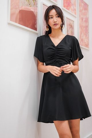 MARABEL ADJUSTABLE SCRUNCHED DRESS #MADEBYLOVET (BLACK)