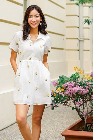 SLYVIE SUNFLOWER EMBROIDERY SHIRT DRESS #MADEBYLOVET (WHITE)