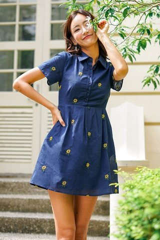 SLYVIE SUNFLOWER EMBROIDERY SHIRT DRESS #MADEBYLOVET (NAVY)